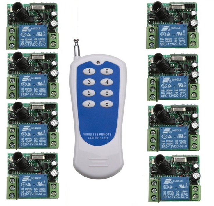RF Wireless remote control system 20-200M 1 (controller)transmitter +8 receiver(switch)12V 10A 315MHZ-433MHZ Free shipping dc24v 15ch rf wireless switch remote control system receiver
