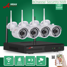 ANRAN Surveillance CCTV P2P HD 8CH WIFI NVR 2.0MP Outdoor Waterproof 36 IR 4PCS 1080P Wireless IP Camera Security System HDD