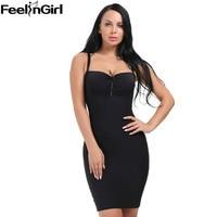 FeelinGirl Control Slips Shaperwear Women Sexy Body Shaper Slim Underbust Sleeveless Strap Bandage Dress Slimming Underwear C