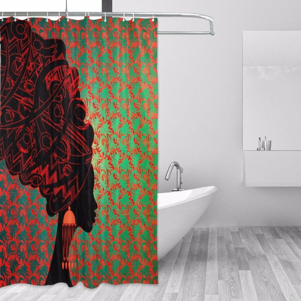 60x72/'/' African American Black Women Bathroom Shower Curtain Waterproof Fabric