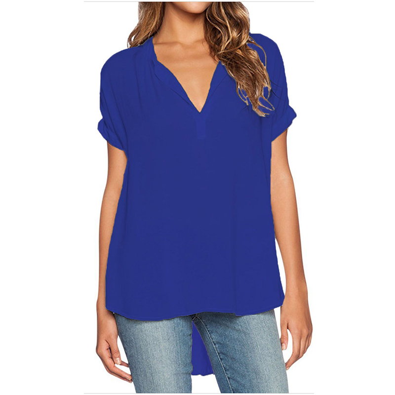 New Autumn Fashion Women deep v neck button short sleeve ladies tops chiffon shirts solid elegant Top casual blouse PLUS 4XL