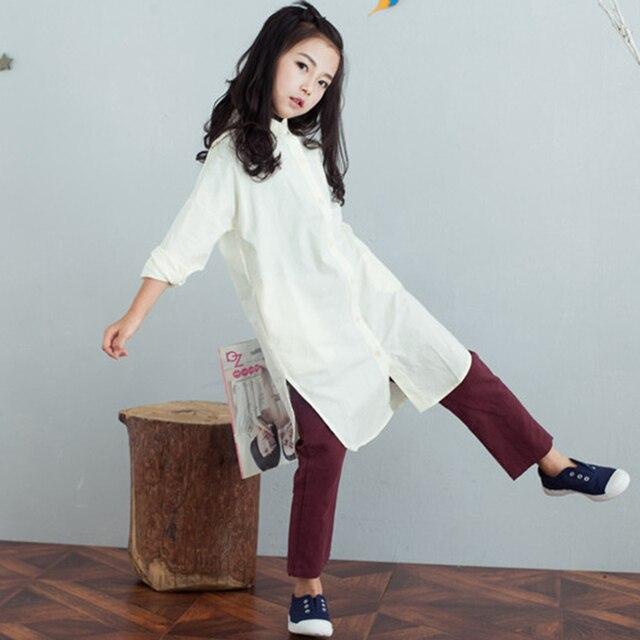191e4c05f436 Белый серый школы рубашки платье для маленькой девочки-подростки блузка  детей длинным осень clothing девушки