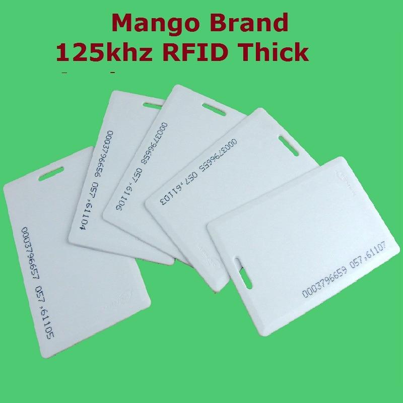 50pcs/Lot Proximity EM / ID RFID 125khz Smart Thick ID Card Mango Brand Access Control System High Quality Free Shipment turck proximity switch bi2 g12sk an6x
