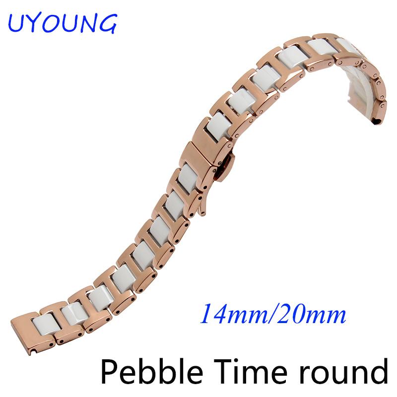 Prix pour 14mm 20mm bracelet pour Pebble temps ronde qualité en acier inoxydable + montre en céramique bande rose bracelet en or