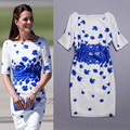 Cotton Linen Kate Middleton Dress Ladies Party Bodycon Pencil Dress White Blue Autumn Women Flora Dress