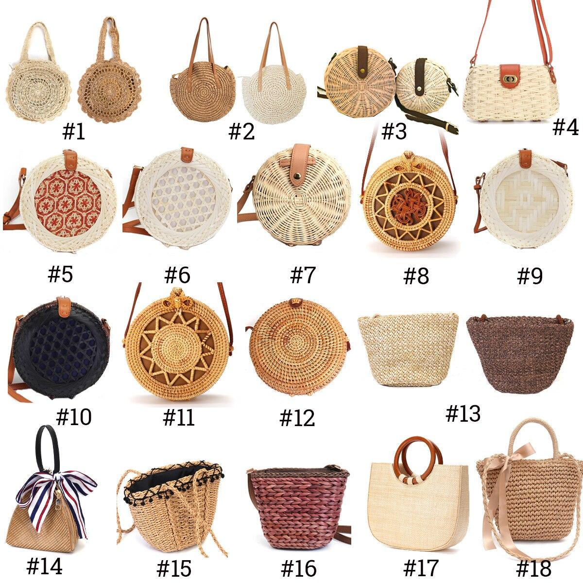 2019 bolsa de Palha Bolsa de Praia Das Mulheres Do Vintage Senhoras Handmade Tecido Rattan Bali Bohemian Bolsa de Ombro Crossbody saco do Mensageiro da Bolsa de Verão