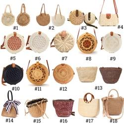 2019 mulheres saco de palha praia do vintage senhoras artesanal tecido rattan mensageiro bolsa verão bali boêmio crossbody bolsa de ombro