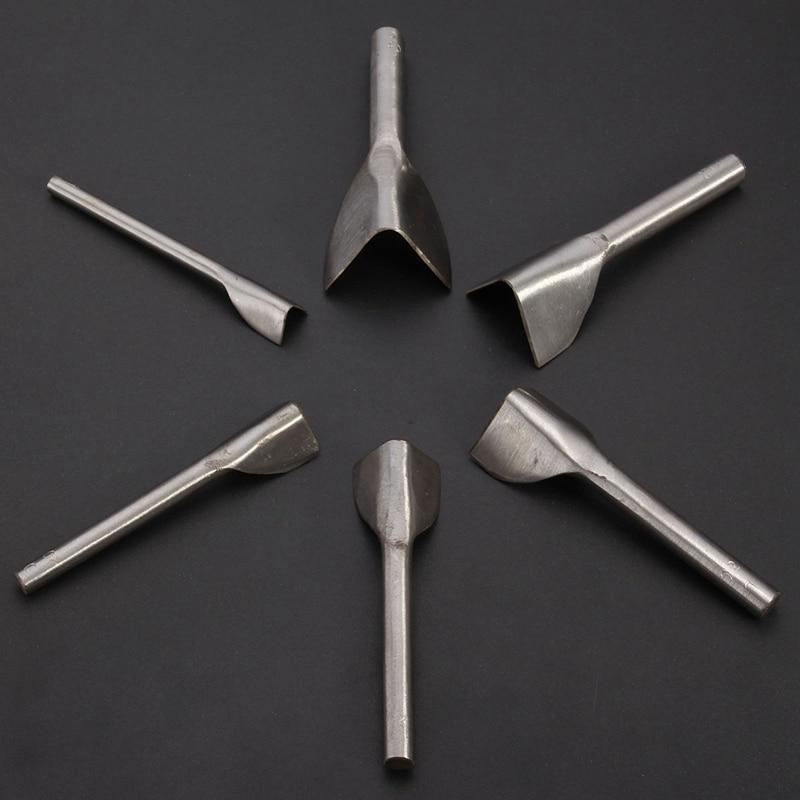 Kiwarm 6 قطع 15 ملليمتر -40 ملليمتر الصلب جلدية كرافت نصف جولة v شكل القاطع لكمة حزام أدوات مجموعة للمنزل diy اليدوى حزام محفظة النهاية