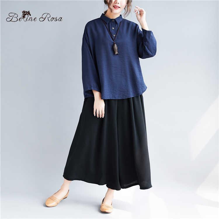 BelineRosa Simple Pure Color Polo Shirts for Women Navy Blue Long Sleeve Autumn Style Cotton Linen Women Tops BSDM0263