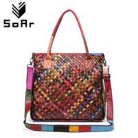 SoAr Cowhide Leather 100 Women Messenger Bags Famous Brands Patchwork Color Random Handmade Weaving Genuine Leather