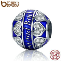 BAMOER High Quality Authentic 100 925 Sterling Silver Love You Forever Heart Pave Beads Fit Women