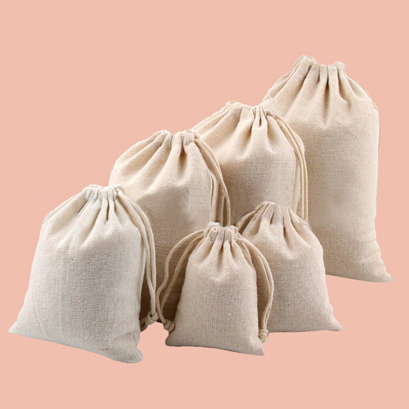 10pcs Cotton Sacks Jute Gift Bags Natural Burlap Gift Candy Pouch Drawstring Bags for Handmade Soap Storage Wedding Supply
