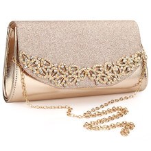 2019 Champagne Wedding Clutch Female Evening Bags Sac Main Femme Gold Silver Large Capacity Luxury Florl Rhinestone Clutches
