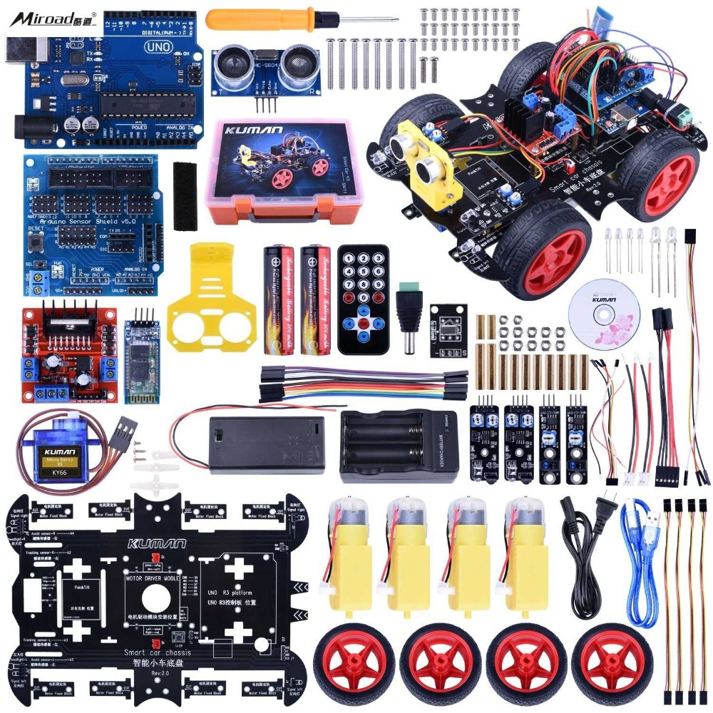 Upgraded Bluetooth Rc Smart Robot Car Kit Miroad Uno R3