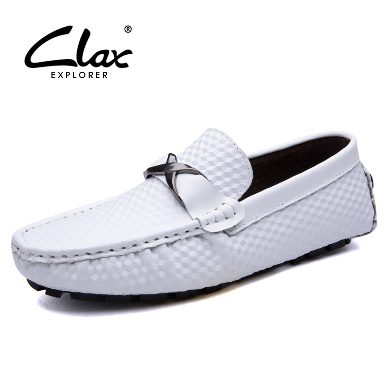 CLAX Men Loafers Shoes Slip on 2017 Summer Autumn Leather Shoe for Male Casual Footwear Flat Moccasin Boat Shoe Breathable larger size men shoes 2017 spring summer autumn breathable mesh hollow mens shoes outdoor flat shoe slip on platform shoes