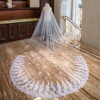LZP308 Элегантные Блестки свадебная вуаль с аппликацией 4 м в длину и 3 м в ширину свадебная вуаль двухслойная Соборная вуаль