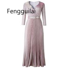 FENGGUILAI 2019 Reflective Long Dress Women Pleated Sexy Deep V Neck Elegant wintwer High Waist Belt Glitter Evening Party