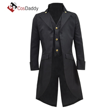 Cosdaddy Steampunk Black Long Trench Cosplay Costume Men WasitCoat Suit Halloween