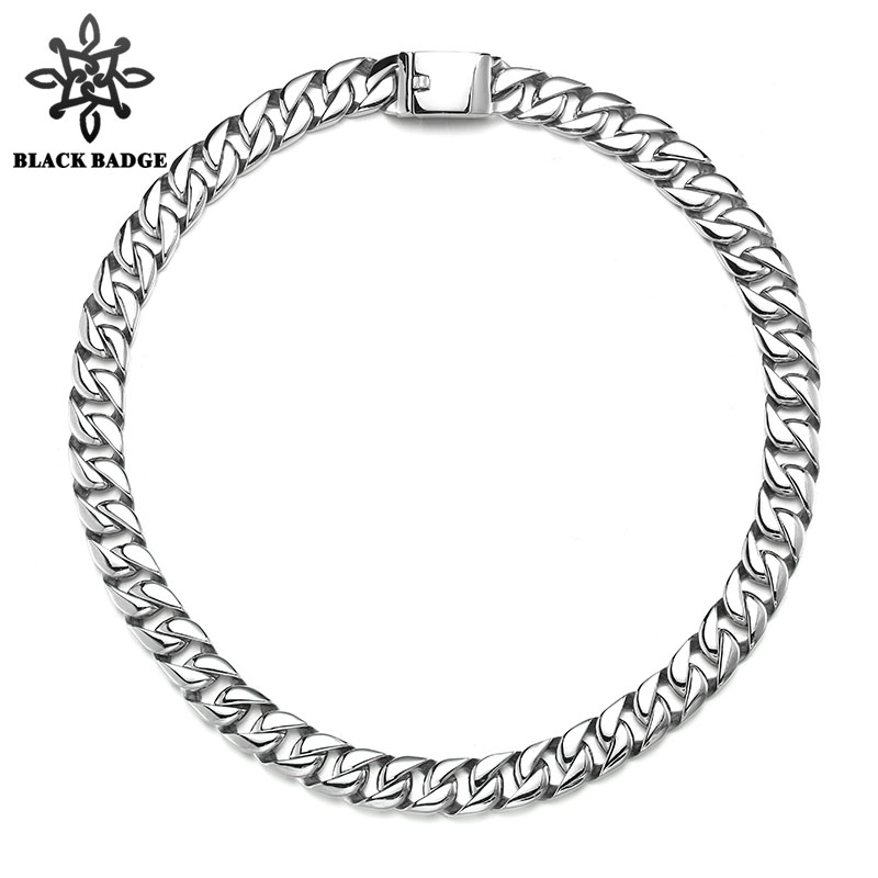Men Hip Hop Jewelry Huge 16MM Wide Necklace 316L Stainless Steel Vintage Silver Color Cuban Link Chain Clasp Chain Necklaces a suit of vintage solid color link chain necklace and bracelet for men