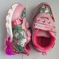 Girls cartoon shoes primavera y otoño gatito luces de flash led de moda niños de los niños de la princesa zapatillas de deporte
