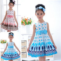 2014 Kids Girls Dress Cute Peacock Color Sleeveless Princess Dress Circle Korean Fashion Blue Children S