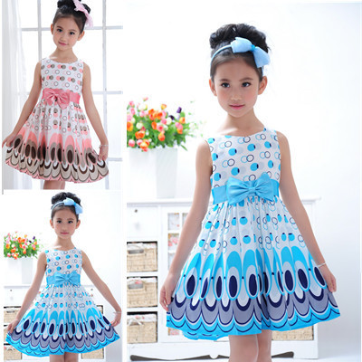 Kids Girls Dress cute peacock color sleeveless princess dress circle Korean Fashion Blue children's clothing New