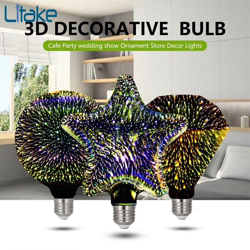 Litake LED Bulbs Light 3D Decoration Light Bulbs Novelty RGB Lamp Filament Fireworks Ball Light 5W G95 85V-265V novelty glass magic plasma ball light 3