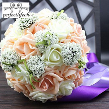 perfectlifeoh Bridal Wedding Bouquet with Ribbon Handmade PE Roses buque de noiva Wedding Flowers Bridal Bouquets Purple