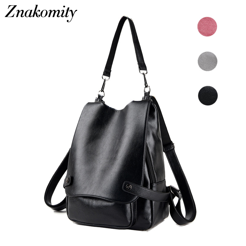 Znakomity Women School backpack female leather Shoulder bag backpack black grey Fashion Daypack woman day back pack for women