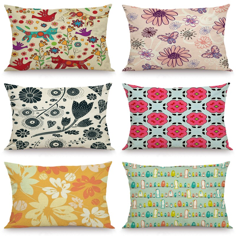XUNYU 30X50cm/40x60cm Cushion Cover Cartoon Flower Pillow Cases Decorative Throw Pillow Cover For Sofa Bedroom JX032