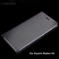 LANGSIDI brand genuine leather phone case diamond Pattern clamshell handphone shell For Xiaomi Redmi 4X All handmade