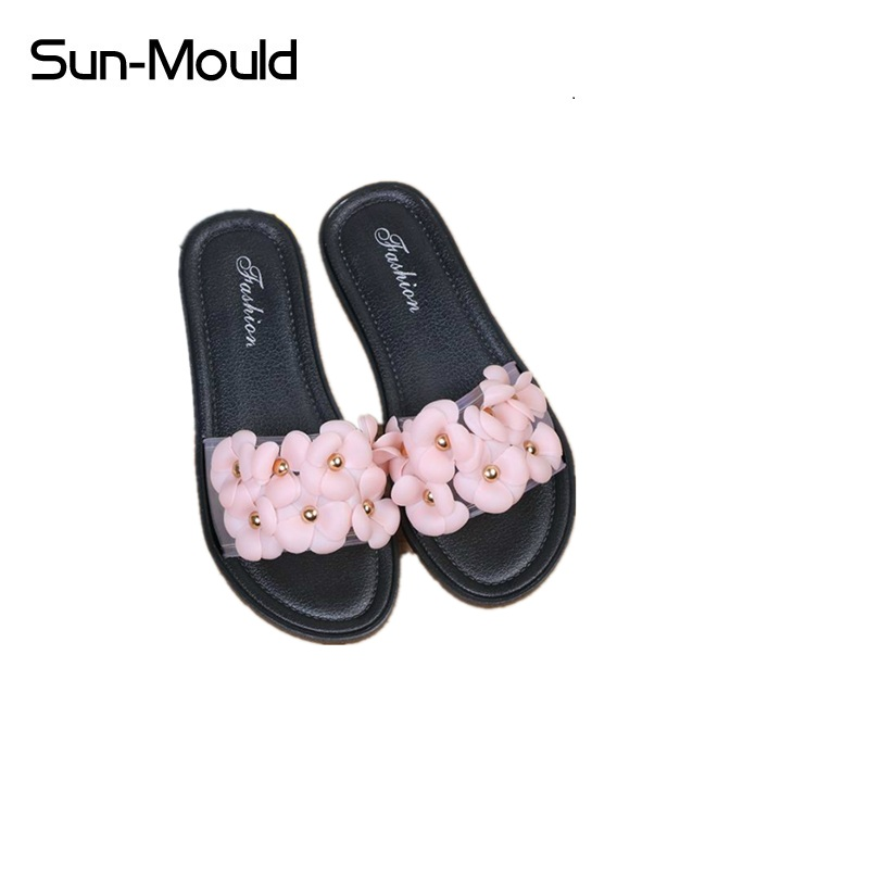 Hot New Slippers Platform Sandals Slip On Flats Casual Shoes Woman Beach Flip Flops Flowers Women Shoes 2017 summer pearl women slippers velvet sandals flip flops slip on flats woman beach platform women shoes plus size 35 39