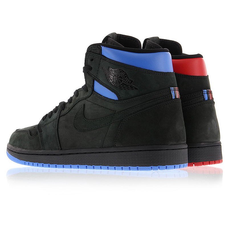 7b928663060 Original Nike Air Jordan 1 Retro Q54 Quai 54 Black Red and Blue Men s  Basketball Shoes