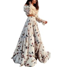 New Women Fashion Butterfly Floral Vintage Dress Spring Long Sleeve Retro Beach Dresses Vestidos