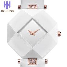 De cuarzo de cerámica relojes de pulsera para las mujeres señoras de cuero reloj correa de reloj resistente al agua a prueba de golpes especiales Holuns reloj simple