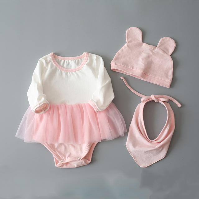 Baby Girl Rompers Newborn Cute Cotton Infant Lace Bow-Knot Romper+Hat+bibs Children Clothes Sets Long Sleeve skirts Jumpsuit