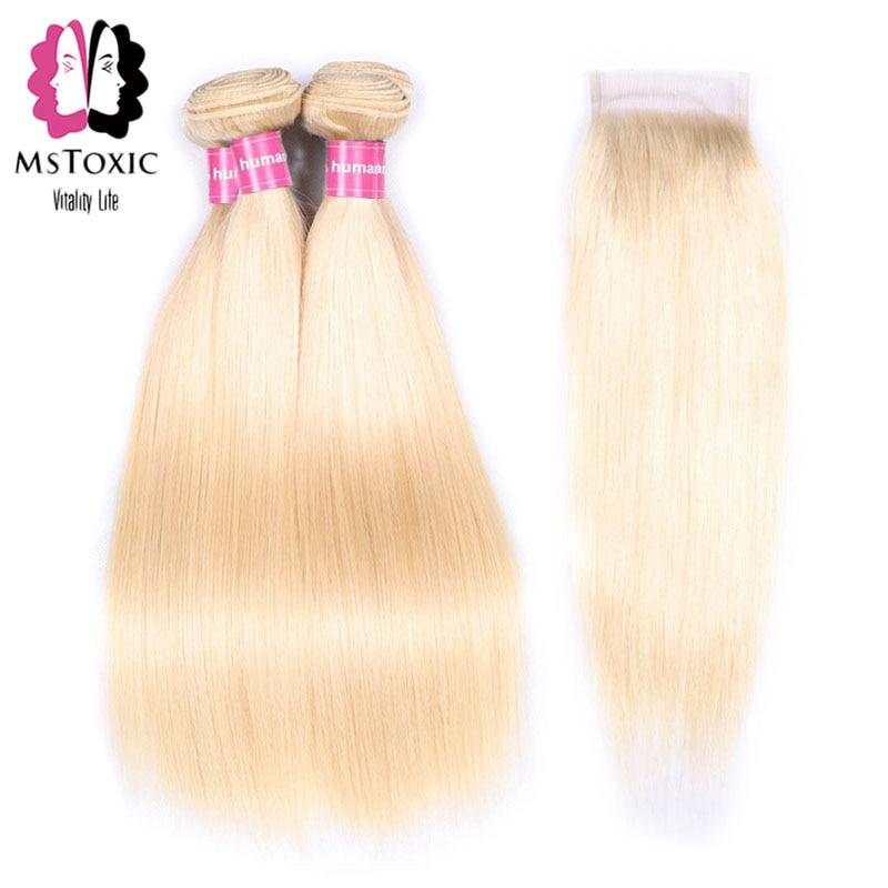Human Hair Weaves Mstoxic 613 Bundles With Closure Malaysian Straight Hair Bundles With Closure Remy Human Hair Honey Blonde Bundles With Closure