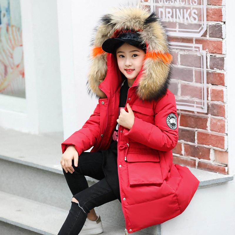 HSSCZL Girls Duck Down Jackets 2018 Brand Long Winter Girl Down Coat Natural Fur Collar Hooded Warm Outerwear Overcoat Clothes