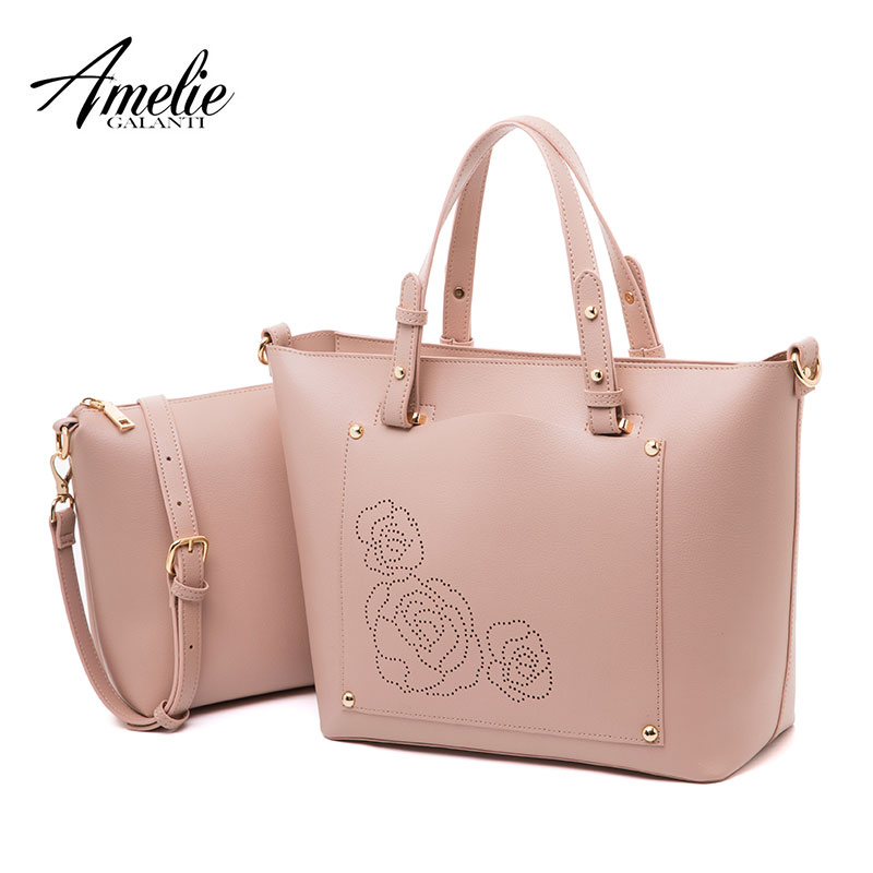 AMELIE GALANTI Women bag composite bag big capacity shoulder cross body bag simple fashion design high quality embroidery flower composite structures design safety and innovation