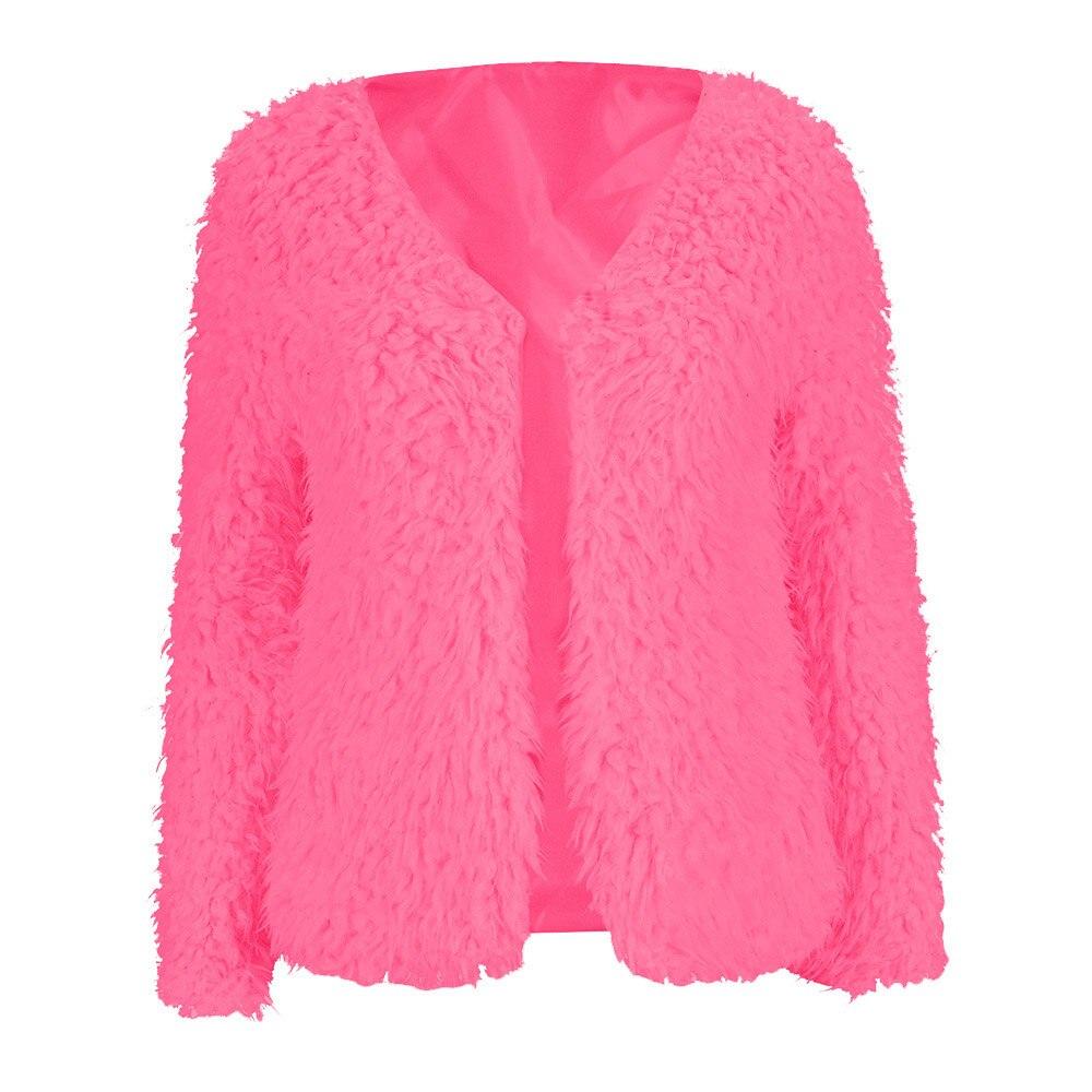 Mode Winter Warm Faux Fur Lamb Wolle Mantel Offenen Stich V Neck Warme Pelz Jacke Regelmäßige Volle Hülse Solide Tops