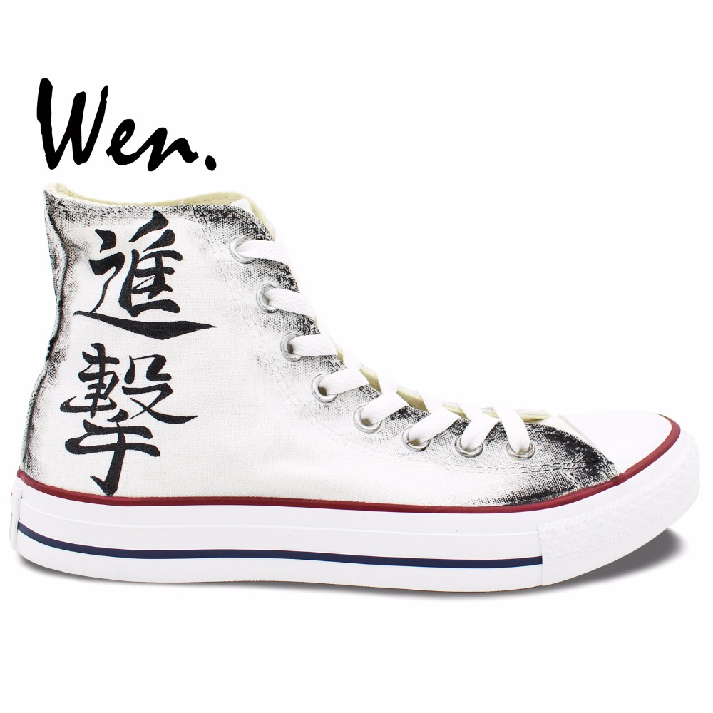 Wen Anime Hand Painted Shoes Anime Attack on Titan High Top Men Women's Canvas Sneakers Boys Girls Gifts wen original design colorful lamp bulb hand painted shoes black slip on canvas sneakers for man woman s gifts presents