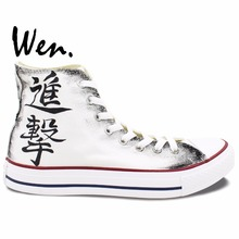 Wen Anime Hand Painted Shoes Anime Attack on Titan High Top Men Women s Canvas Sneakers