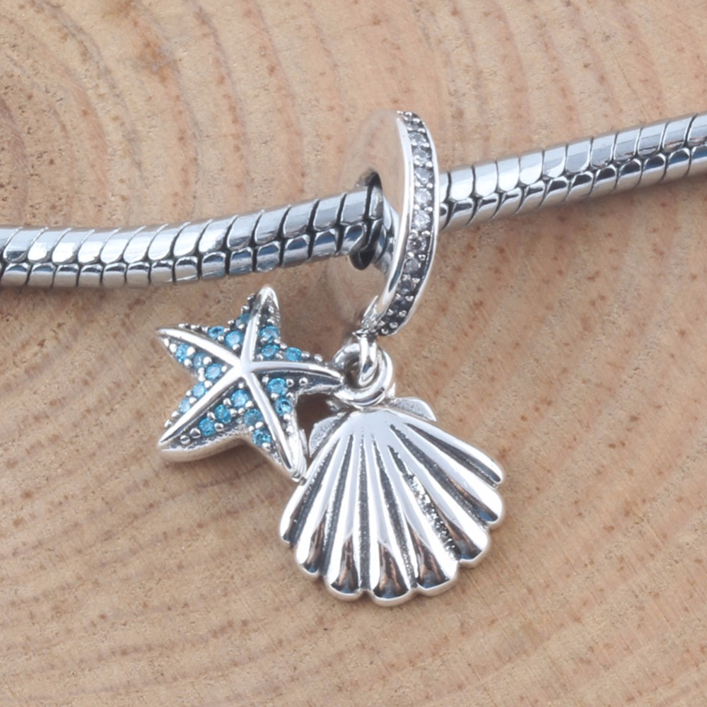 ZMZY Shellfish Starfish Dangle Authentic 925 Sterling Silver Charms Beads Fits Pandora Bracelet Jewelry for Women Gift