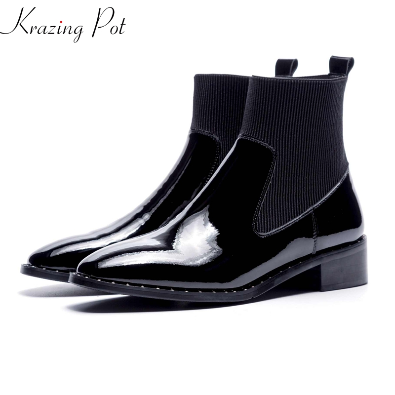 Krazing Pot cow leather rivets boots 4.5cm thick heels European round toe knitting women fashion wedding party ankle boots L81