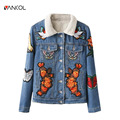 vancol 2017 designer spring luxury lamb fur female jacket women jeans coat bird tager Embroidery winter thick denim jacket