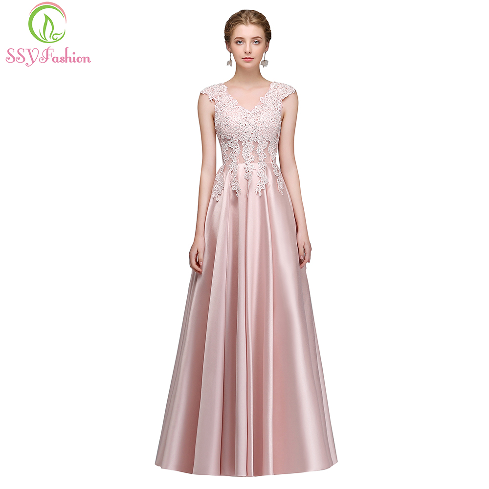 SSYFashion New Pink Lace Satin Evening Dress the Bride Banquet Elegant  V-neck Sleeveless Appliques Floor-length Party Prom Gown 10e04723b4c7