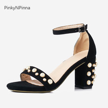 women's luxury sandals ankle strap sheepskin suede pearl embellished block high heels bohemian vintage style top quality shoes недорго, оригинальная цена