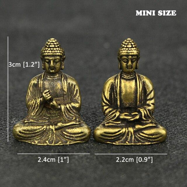 Mini Portable Retro Brass Buddha Zen Statue Pocket Sitting Buddha Hand Toy Sculpture Home Office Desk Decorative Ornament Gift 6