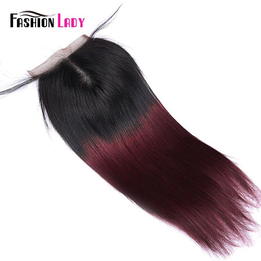 FASHION LADY Pre-Colored 100% Human Hair 4x4inch Malaysian Closure T1B/99J Ombre Straight Lace Closure Non-Remy