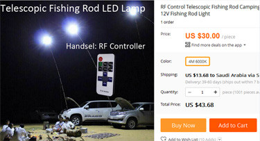 led fishing rod lights pole light